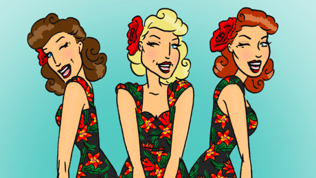The Siren Sisters Winking in flowery dresses with a sky-blue backdrop